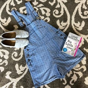 Blue and White Plaid Design Overall Shorts
